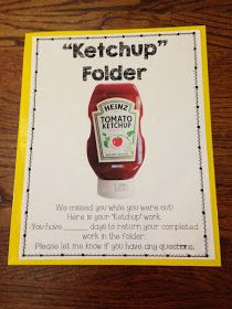 """When students are out sick, it's hard to keep track of work they miss. The """" Ketchup Folder """" is a tool that helps me manage the chaos.   ..."""