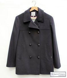 Women's Breton Pea Coat for Ladies, Navy Blue, Wool - THE NAUTICAL COMPANY