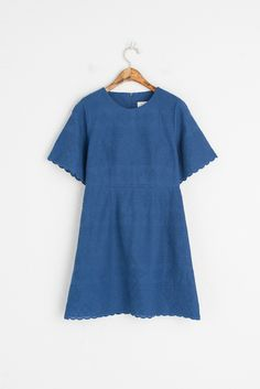 Embroidery Cotton Slim Fit Dress, Blue