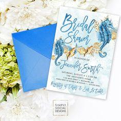 Under the Sea Beach Bridal Shower Invitation - Seahorse Seashell Starfish Coral Boho Watercolor Beach Invitation Sun and Sand Watercolor