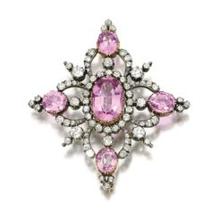 THE JEWELLERY COLLECTION OF THE LATE MICHAEL WELLBY: AN ECLECTIC EYE - JEWELS SPANNING FOUR CENTURIES Topaz and diamond brooch, Late 19th CenturySet with oval pink topazes, circular-cut and rose...