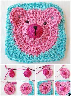 #Crochet Teddy Bear Granny Square Free Pattern