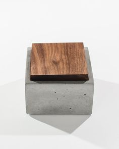Small Grey Concrete Box with solid Dark American Walnut or Mahogany wood lid / Minimalist Home Decor/Jewelry Box