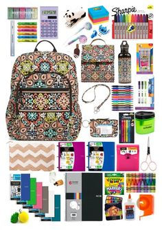 """""""Back To School Supplies"""" by tortor123-1 ❤ liked on Polyvore featuring interior, interiors, interior design, home, home decor, interior decorating, Vera Bradley, Paper Mate, BIC and Sharpie"""