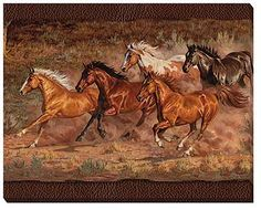 F195193881: Downhill Run Horses Wrapped Canvas Art by Chris Cummings