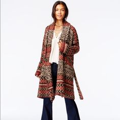 Free People Iona Wrap cardigan NWT! Heavy wrap cardigan, beautiful and stylish! Shades of brick, black, Ivory and grey/tan. Free People Sweaters Cardigans