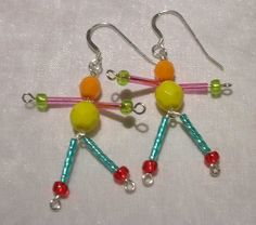 Stick Figure People  Glass Seed Bead and Sterling by 3DDesigns, $14.00