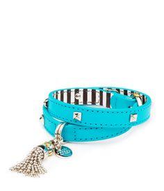 henri charms double wrap bracelet in turquoise | henri bendel