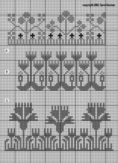 German century sampler borders: clover, tulip, and carnation garden patterns Blackwork Patterns, Crochet Stitches Patterns, Crochet Chart, Knitting Patterns, Cross Stitch Borders, Cross Stitch Samplers, Cross Stitch Embroidery, Cross Stitch Patterns, Graph Design