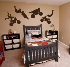 My husband would die for this to be our little guys room! (IN the FUTURE of course!) Vinyl Wall Sticker Decal Art- Dirt Bikes