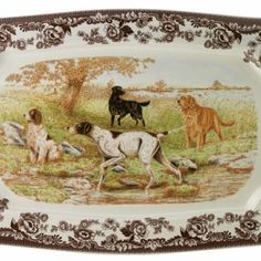Spode Woodland; I LOVE this platter.  It matches my Ralph Lauren navy blue hunting scene curtains .