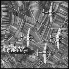 Unseen Photos of World War II - bombers flying over their targets