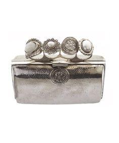 Clutch in metallo con impugnatura a quattro dita con anelli, From St. Xavier  -cosmopolitan.it