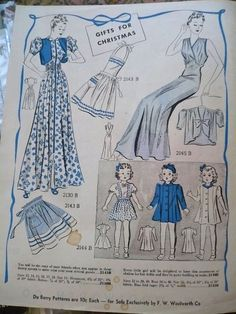 Prevue Du Barry Fashions, December 1938 featuring DuBarry 2130B, 2143B, 2144B and 2145B