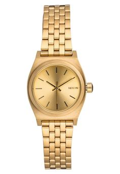 """SMALL TIME TELLER - Watch - all gold. Diameter:1.0 """" (Size One Size). waterproof:yes. Arm band width:0.5 """" (Size One Size). Housing:Stainless steel. Case height:0.5 """" (Size One Size). Display:analogue. Band:Steel. Clock mechanism:quartz"""