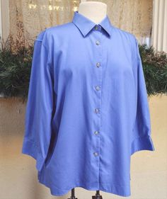 Lands End Classic Blouse Shirt XL French Blue Cute Party Wear w/Jeans Slacks…