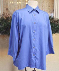 Lands End Classic Blouse Shirt XL French Blue Cute Party Wear w/Jeans Slacks…