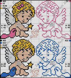 Cross Stitching, Cross Stitch Embroidery, Embroidery Patterns, Cross Stitch Patterns, Knitting Patterns, Stitch And Angel, Cross Stitch Angels, Cross Stitch Baby, Hama Beads Disney