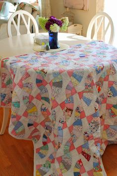 Sewn With Grace: Vintage Quilt Find -- I've always wanted to do this-- use a quilt as a table covering, but would live in fear something would get spilled on it!