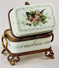 Antique French Nap III Opaline Sugar Casket, HP & Ormolu - Jewelry Box or Casket