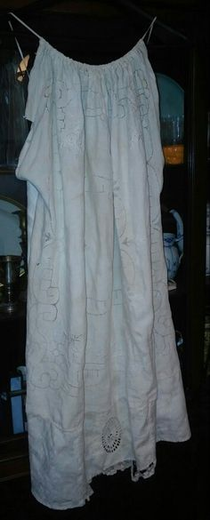 Halter sundress from grandma's linens and vintage lace doilies