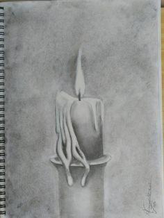 Vela, dibujo con lápices grafito.