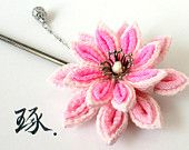 Pink Lotus Kanzashi Hair Stick with Hanging Silver Ornament
