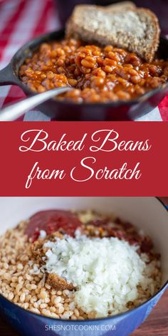 No overnight soaking for these easy homemade baked beans. This is our favourite family recipe and I know you will love it! #Homemade #SideDishes #EasyRecipes #ShesNotCookin Best Baked Beans, Homemade Baked Beans, Baked Bean Recipes, Crockpot Recipes, Cooking Recipes, Supper Recipes, Side Dish Recipes, Brunch Recipes, Baked Beans From Scratch