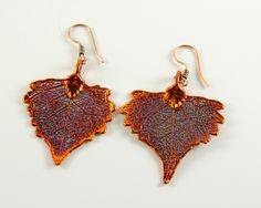 Copper Leaf Dangle Earrings, Copper Heart Earrings by MaryMorrisJewelry on Etsy