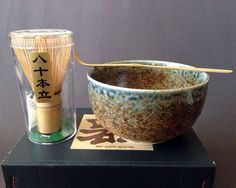"""Japanese 5""""D Matcha Bowl Cup w/ Spoon & Whisk Tea Ceremony Set, Made in Japan"""
