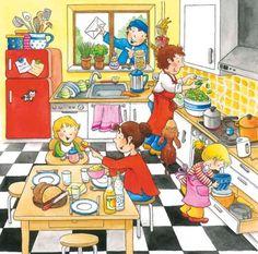Puzzle Môj deň - Kuchyňa Kindergarten Anchor Charts, Hidden Words, English Grammar Worksheets, Simple Birthday Cards, Picture Description, English Class, Autism, Literature, Puzzles