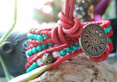 Hey, I found this really awesome Etsy listing at https://www.etsy.com/listing/263390812/red-leather-turquoise-and-clear-sea