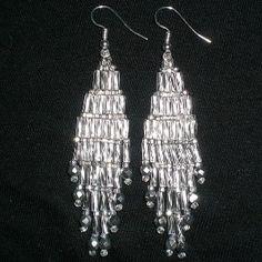 Bugle Girl Silver Chandelier Beaded Earrings