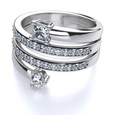 This trendy fashion forward 14k white gold right hand diamond fashion ring is made up of twenty eight beautifully set diamonds. The ring can be worn for any occasion. This ring would be a wonderful birthday present.
