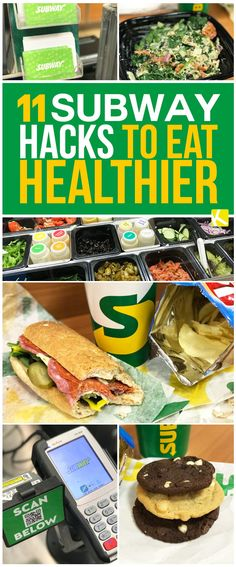 11 Subway Hacks to Eat Healthier (and Cheaper) on the Go - The new year is coming and that means it's resolution time. Save money while still eating fresh, healthy food on the go. Eat Healthy Cheap, Healthy Fast Food Options, Fast Healthy Meals, Healthy Menu, Healthy Snacks, Healthy Eating, Healthy Subway Sandwiches, Subway Nutrition