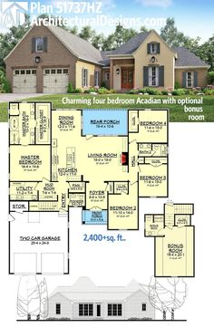 Architectural Designs 4 Bed Acadian House Plan 51737HZ. Ready when you are. Where do YOU want to build?