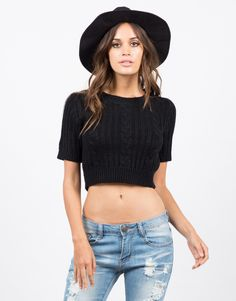 Knit Cropped Sweater Tee - Brown Sweater - Crop Top – Tops – 2020AVE
