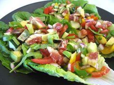 Romaine Lettuce Wrap Recipe with veggies and fruit via Incredible Smoothies