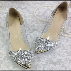 Crystal Feminino Lindo apontado Toe sapatos de salto agulha de Strass Casamento Tam | Roupas, calçados e acessórios, Calçados femininos, Scarpin | eBay!