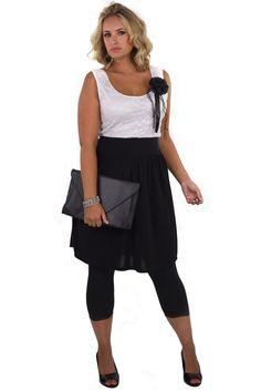 White & Black Lace Top Dress Plus Size