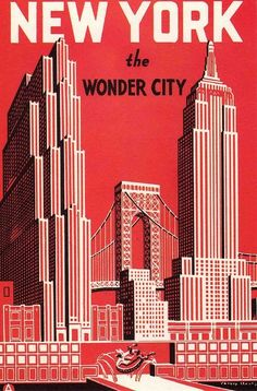 New York the Wonder City vintage travel poster print USA America #red great American cities