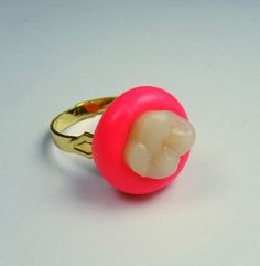 HALF PRICE SALE - Adjustable Ring - Acrylic Molar set in Polymer Clay - Tooth and Gum - Hot Pink - Human Tooth - Dental. $6.00, via Etsy.