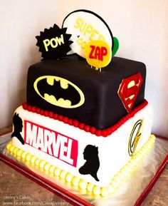 DC Comics & Marvel Superheroes Birthday Cake - DC & Marvel Superheroes Birthday Cake Vanilla Cake w/ Raspberry filling and white chocolate buttercream WANT THIS SO BAD Marvel Dc, Marvel Cake, Fun Cupcakes, Cupcake Cakes, Justice League Cake, 20 Birthday Cake, Happy Birthday, Birthday Ideas, White Chocolate Buttercream