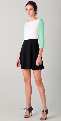 Tibi 3/4 Sleeve Colorblock Dress  LOVE the shoes!