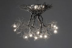 Roots Medium handmade ceiling light made of pewter wires. 7