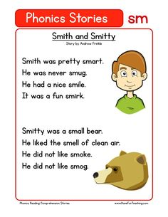 Using this Smith and Smitty SM Phonics Reading Comprehension Worksheet, students build their reading comprehension and phonics skills while reading words featuring SM. First Grade Reading Comprehension, Phonics Reading, Reading Comprehension Worksheets, Teaching Phonics, Kindergarten Reading, Teaching Reading, Phonics Lessons, Jolly Phonics, Blends Worksheets