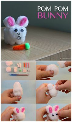 DIY Easter craft: Pom Pom Bunnies