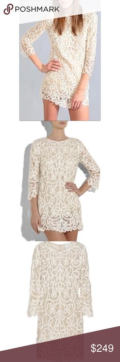 ➡3.1 Phillip Lim Lace Shift Dress⬅️ 3.1 Phillip Lim's intricate cream lace mini dress is a delicate shift that makes a fabulous hot-weather evening look. It features three-quarter length sleeves, a small V at back of neck, a scalloped hem, is double lined in sheer then opaque silk and simply slips on. 100% rayon; lining: 100% silk. 3.1 Phillip Lim Dresses Mini