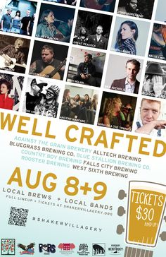 This inaugural festival on August 8-9, 2014 celebrates the quality and diversity of Kentucky's music and craft beer cultures by bringing together a flavorful mix of up-and-coming local breweries with favorite local musicians in a venue like no other.  Get your tickets at shakervillageky.org! #wellcrafted14