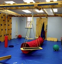 Brooklyn NY, Small Clinic Fun Factor Sensory Gym Less space lost because frame mounts to wall not floor Gymnastics Room, Indoor Gym, Sensory Rooms, Basement Gym, Clinic Design, Indoor Playground, Learning Spaces, Classroom Design, Cool Rooms